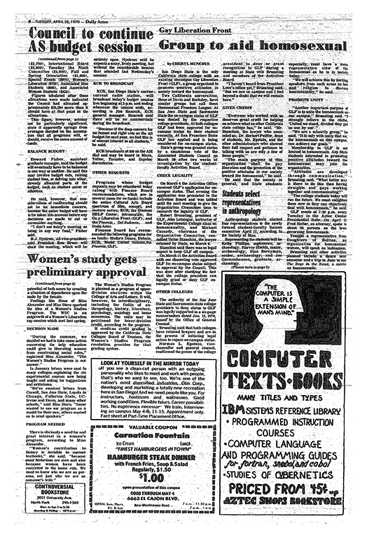 Article on GLF in the Daily Aztec, 4/28/1970