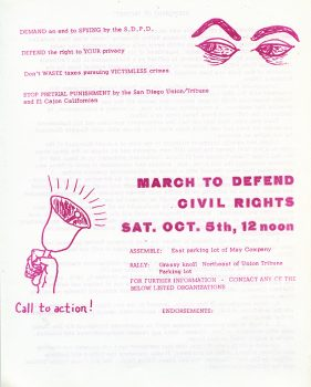 Flyer for March to Defend Civil Rights, 1974