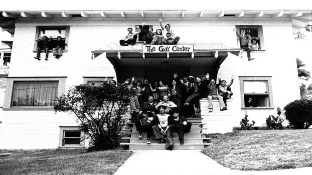 Organizers in front of the Center for Social Services, 1973