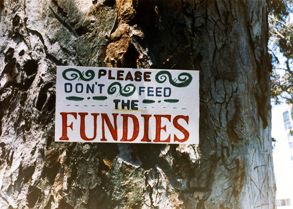 """Please don't feed the fundies,"" 1985"
