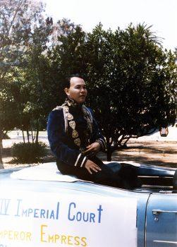 Nicole Murray-Ramirez on the Imperial Court float, 1985