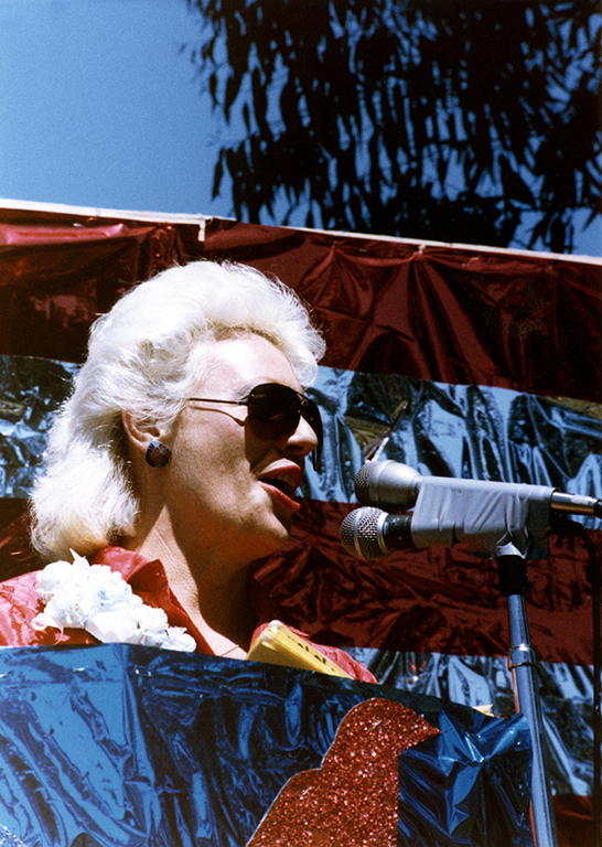 Commissioner Susan Jester calls the crowd to action, 1985.