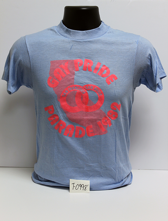 """Gay Pride San Francisco/San Diego Parade, 1982"" t-shirt."