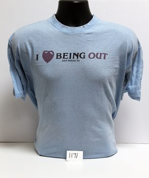 """""""I Love Being Out"""" t-shirt, 1983"""