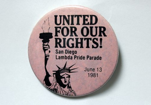 """United for Our Rights!"" button, 1981"