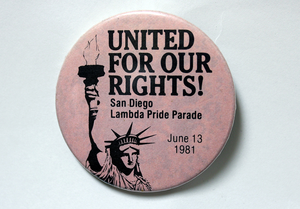 """""""United for Our Rights!"""" button, 1981"""