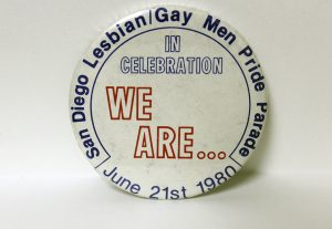 """In Celebration We Are..."" button, 1980"