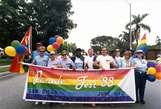 Lambda Pride Board and volunteers at Parade Fest, 1988