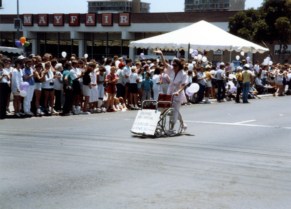 Sharon Kowalski's empty wheelchair in Pride parade, 1988