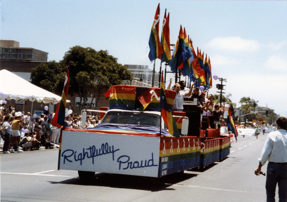 Long Beach Lesbians float at Pride parade, 1988