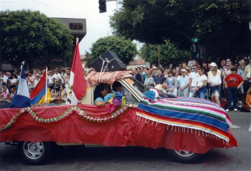 Car decorated with Latin American flags in Pride parade, 1991