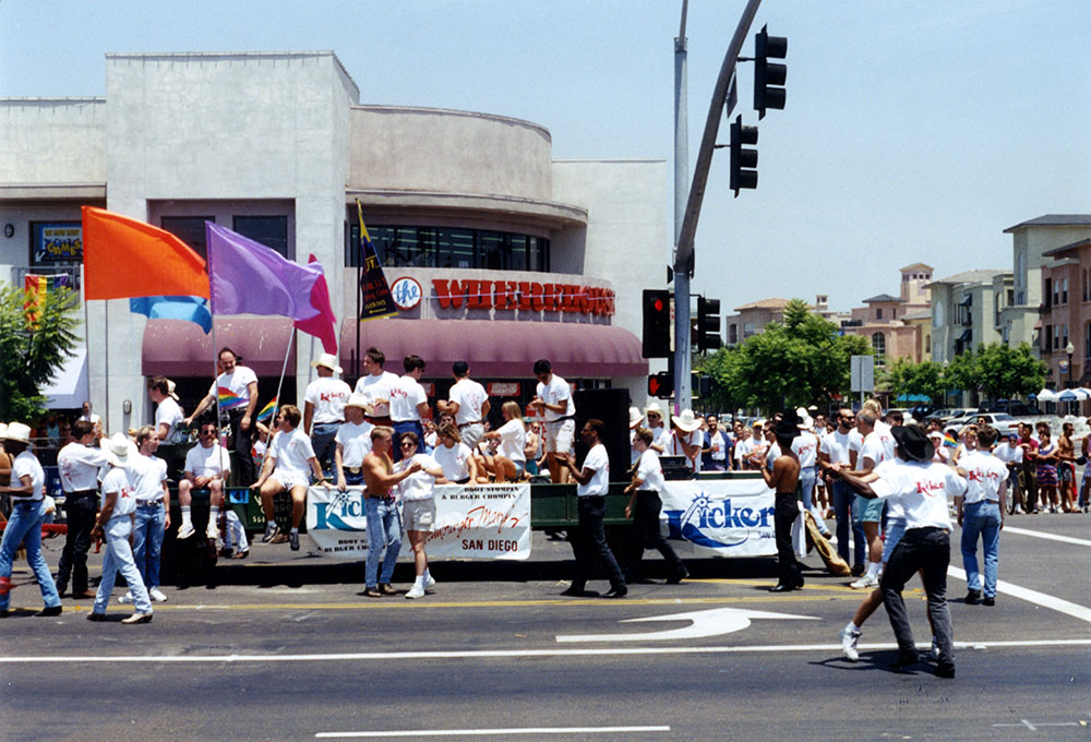 Kicker's San Diego and Hamburger Mary's share a float in Pride parade, 1993
