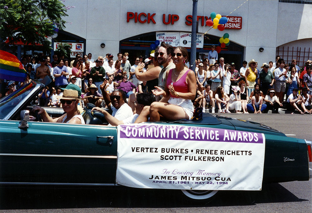 Community Service honorees Vertez Burks, Renee Rickets, and Scott Fulkerson in the parade, 1994