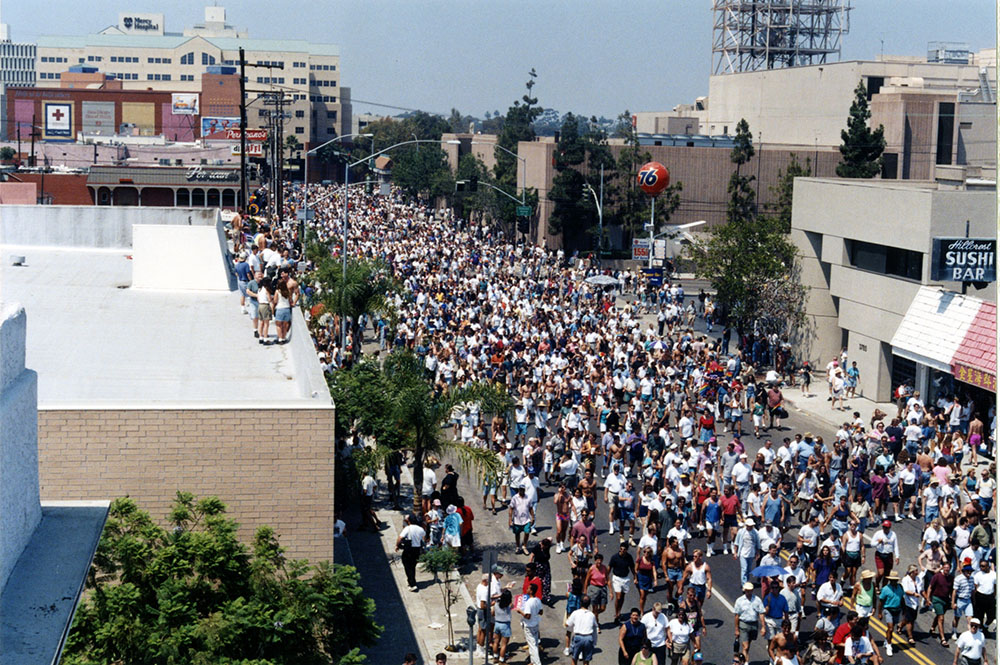 Bird's eye view of the parade at 6th Ave, 1996