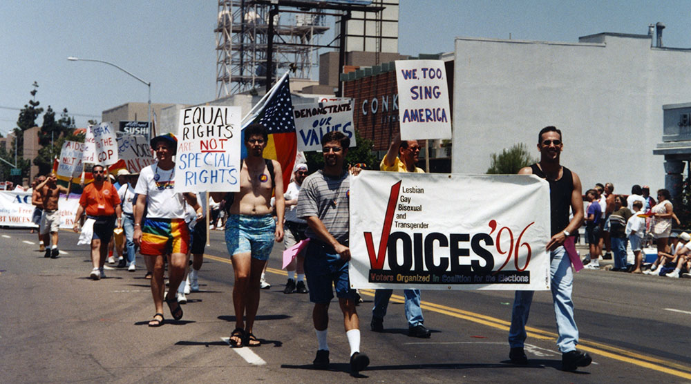 Voters Organized in Coalition for the Elections (VOICES) march in the parade, 1996