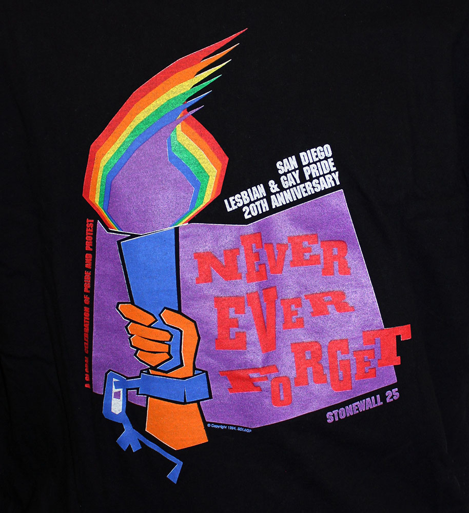 """Close-up of widely-used logo """"Never Ever Forget"""" on the 1994 Pride t-shirt"""