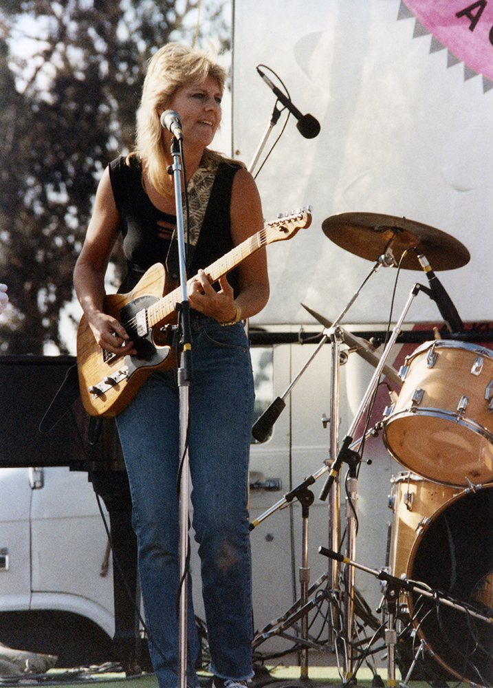 Unidentified guitarist onstage at Pride Festival, 1989
