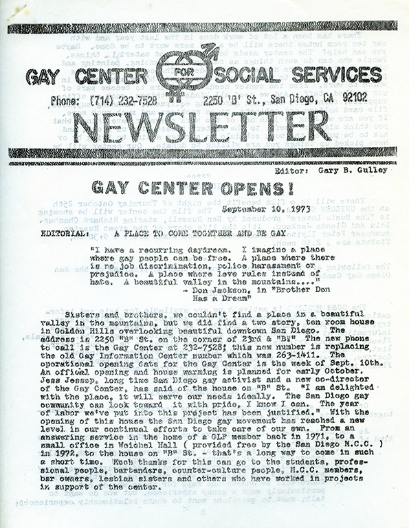 Gay Center for Social Services Newsletter, 1973