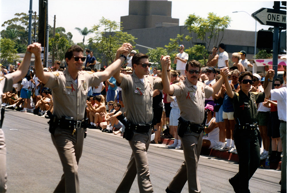 Law enforcement officers in Pride parade, 1992
