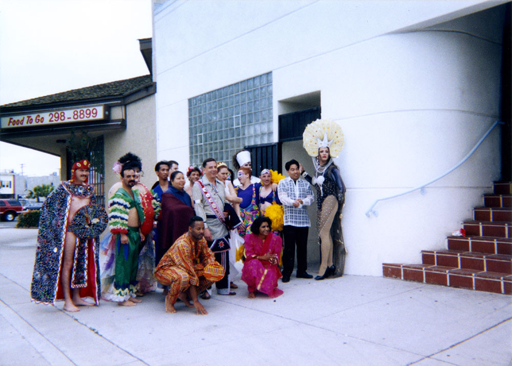 Unidentified group of parade participants in staging area in front of The San Diego LGBT Center, 1993