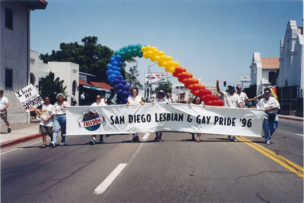 """San Diego Lesbian & Gay Pride '96"" banner opens the parade"
