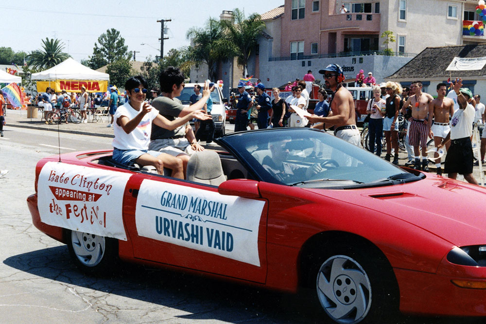 Grand Marshal Urvashi Vaid rides in the parade, 1996